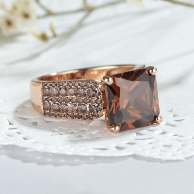 3.01CT Corte Princesa Chocolate Plata de Ley 925 Oro Rosa Anillos de compromiso