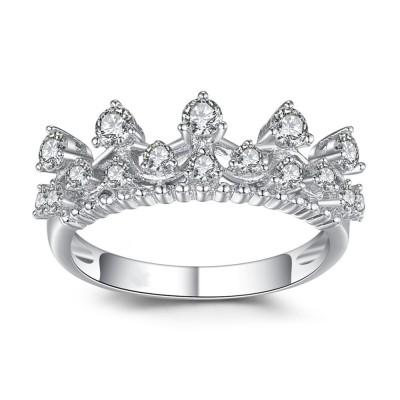 Corona Corte Redondo Piedra Preciosa Plata de Ley 925 Anillo de Cóctel