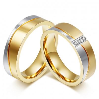 Corte Princesa Piedra Preciosa Oro y Plata Acero Titanio Anillo de Promesa para Parejas