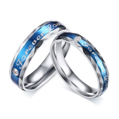 Azul Amor para siempre Acero Titanio Corte Redondo Piedra Preciosa Anillo de Promesa para Parejas