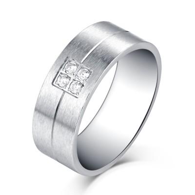 Diseño Sencillo Plata Acero Titanio Piedra Preciosa Anillo de las Hombre