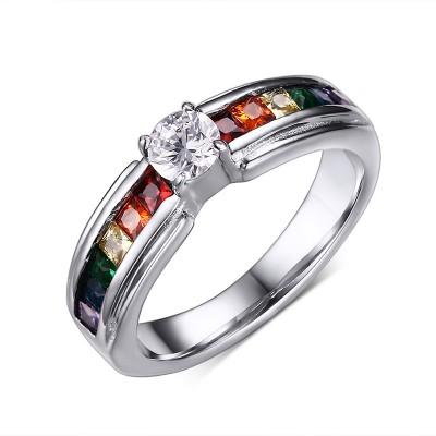 Arco Iris Vistoso Piedra Preciosa Plata Acero Titanio Anillo de Compromiso de las Mujeres