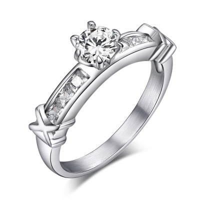 Corte Redondo Piedra Preciosa Acero Titanio Anillo de Compromiso de las Mujeres