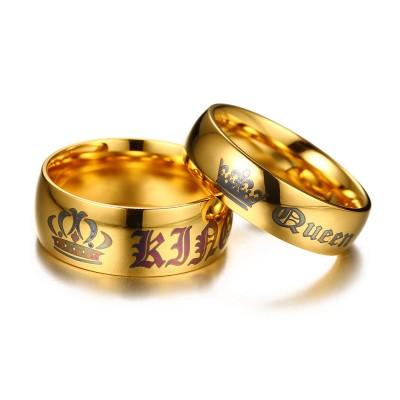 Rey & Reina Oro Titanio Anillos de Pareja