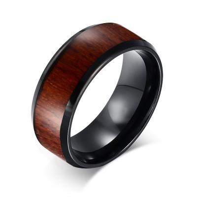 Negro Tungsten Wood Inlaid Men's Alianza de boda