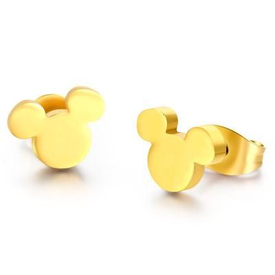 Mickey Diseño Oro Plata de Ley 925 Aretes