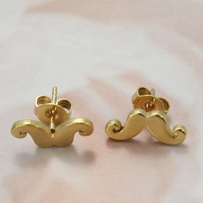 Moustache Diseño Oro Plata de Ley 925 Aretes
