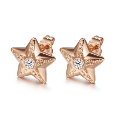 Estrella Corte Redondo Zafiro Blanco Oro Rosa Plata de Ley 925 Aretes