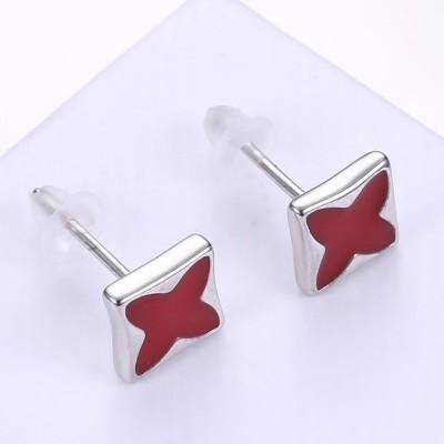 Cuatro Punto Estrella Rojo S925 Plata Aretes