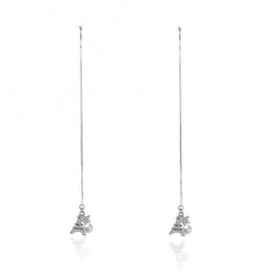 Torre Eiffel Perla Estrella S925 Plata Aretes