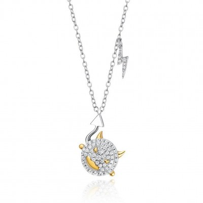 925 Sterling Silver CZ Stones Demon Eye Necklace 18K Gold Plated Halloween Gift