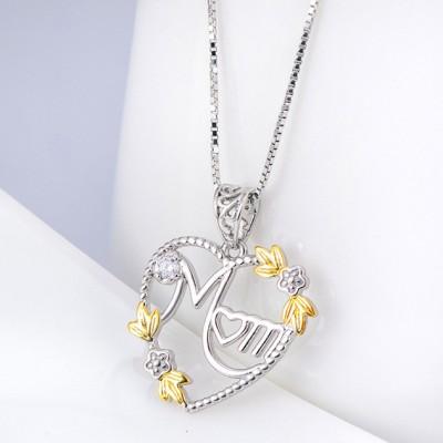 Gift for Mom Plata de Ley 925 Oro  CorazónZircon Collares