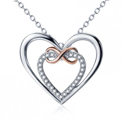 Amor Infinito Plata de Ley 925 Oro Rosa Zircon Collares