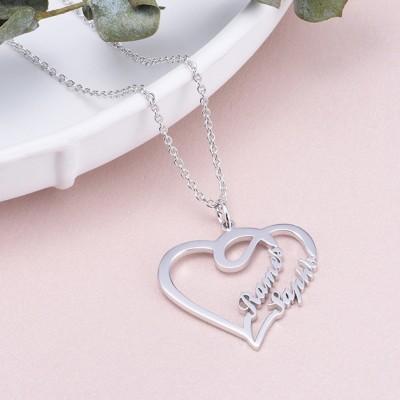 Plata de Ley 925 Superposición  CorazónDos Nombre Collares