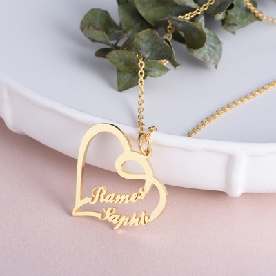 Plata de Ley 925 Oro Superposición  CorazónDos Nombre Collares