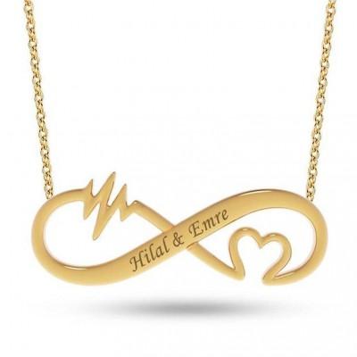 Plata de Ley 925 Oro Amor Infinito Grabado Collares