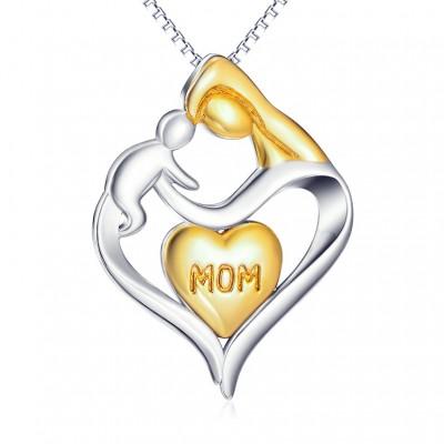 Gift for Mom Plata de Ley 925 Oro  CorazónCollares