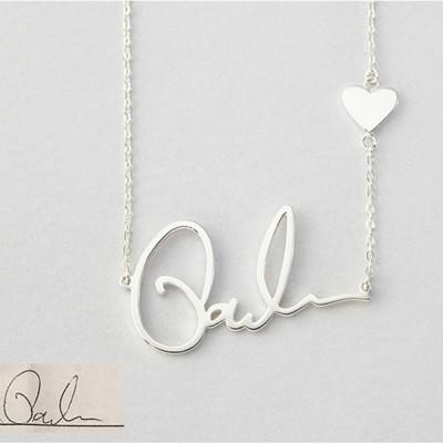 Plata de Ley 925  CorazónSignature Nombre Collares