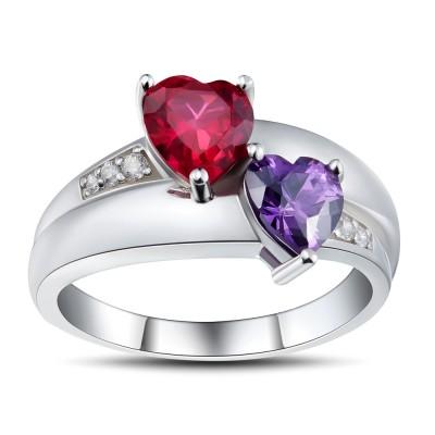 Corte Doble Corazón Rubí Plata de Ley 925 Anillos de Promesa Para Ella