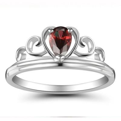Corona Rubí Estilo del corazón Plata de Ley 925 Anillo de las Mujeres