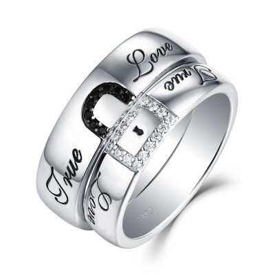 """""""Ture Love"""" Lock White and Black Sapphire s925 Silver Couple Rings"""