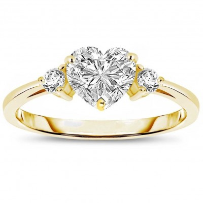 Oro Corte Doble Corazón Zafiro Blanco 3-Piedra Plata de Ley 925 Anillos de Promesa Para Ella