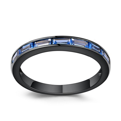 Corte Esmeralda Azul Zafiro Negro Plata Esterlina Poras de Boda