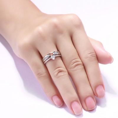 Amor sin fin Corte Doble Corazón Piedra Preciosa Plata de Ley 925 Conjuntos de Pareja