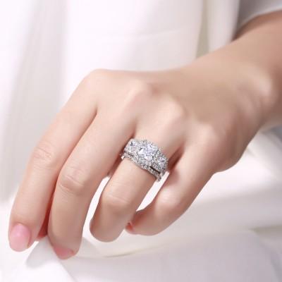 Corte Princesa Zafiro Blanco Plata de Ley 925 Halo 3-Piedra Conjuntos de Anillos