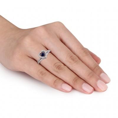 Corte Doble Corazón Azul Zafiro Plata Esterlina Halo Conjuntos de Anillos