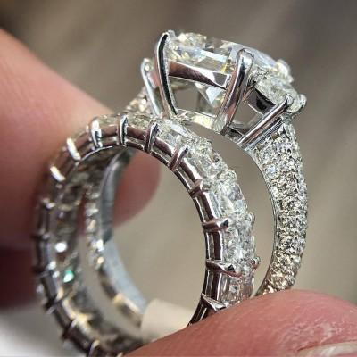 Cushion Cut White Sapphire 925 Sterling Silver 3-Stone Bridal Sets