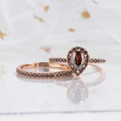 2.3CT Corte de Pera Chocolate Plata de Ley 925 Oro Rosa Halo Conjuntos de Anillos