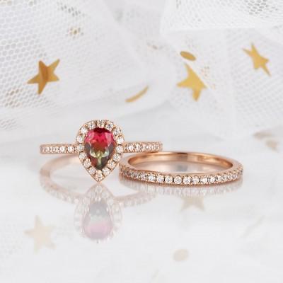 2.3CT Corte de Pera Plata de Ley 925 Oro Rosa Halo Sandía Conjuntos de Anillos