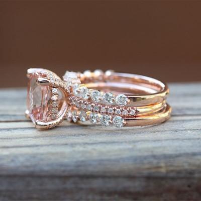 Corte de Cojín Plata de Ley 925 Tres-piece Oro Rosa Conjuntos de Anillos
