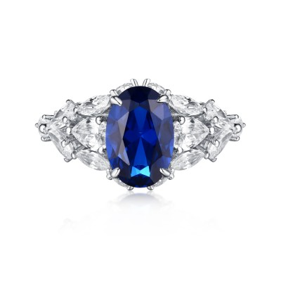Corte Ovalado S925 Plata Azul Zafiro Arte Deco Anillos de Compromiso