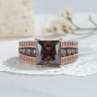 5.56CT Corte Princesa Chocolate Plata de Ley 925 Oro Rosa Anillos de compromiso