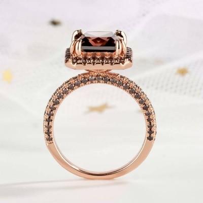 4.51CT Corte Princesa Chocolate Plata de Ley 925 Oro Rosa Halo Anillos de compromiso