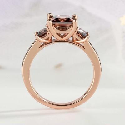 3.1CT Corte Princesa Chocolate Plata de Ley 925 Oro Rosa Tres Piedras Anillos de compromiso