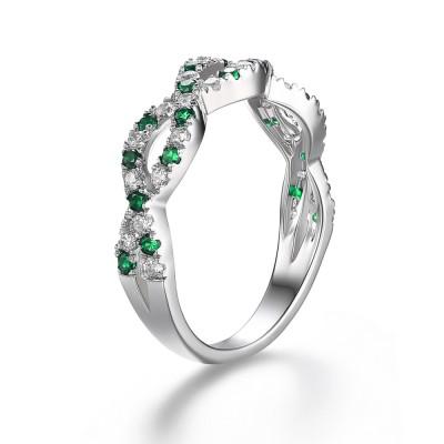 Verde Esmeralda Plata de Ley 925 Anillo de Compromiso de las Mujeres