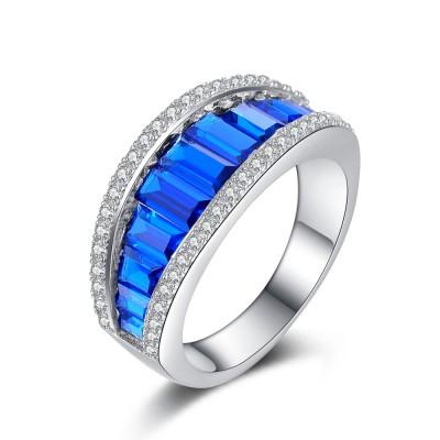 Azul Zafiro Plata de Ley 925 Alianzas para Mujers