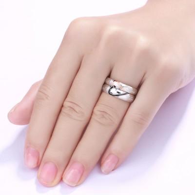 Acero Titanio Diseño de Corazón Anillo de Promesa para Parejas