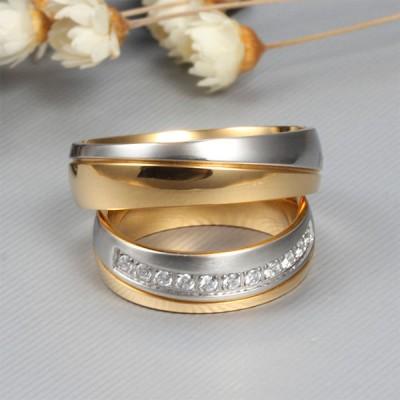 Elegante Oro y Plata Acero Titanio Piedra Preciosa Anillo de Promesa para Parejas