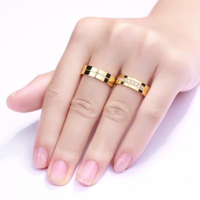 Oro Corte Redondo Piedra Preciosa Acero Titanio Anillo de Promesa para Parejas