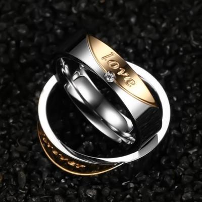 Amor para siempre Acero Titanio Plata Oro Anillos de Promesa para Parejas