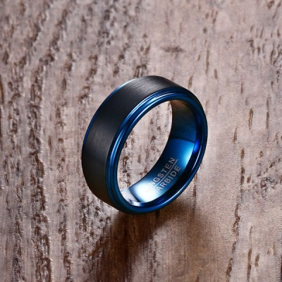 Tungsten Negro & Azul Anillo de las Hombre