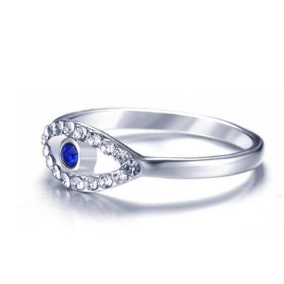 Titanio Corte Redondo Azul & Zafiro Blanco Plata Anillos de Promesa Para Ella