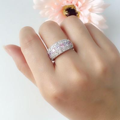 Elegante Vistoso Piedra Preciosas Alianzas para Mujer