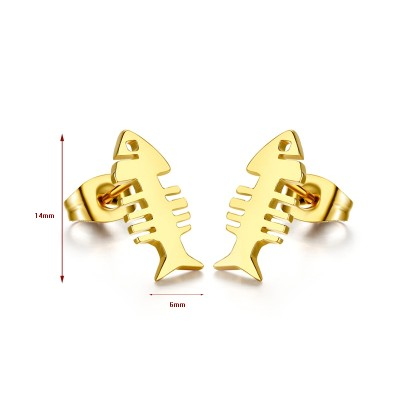Pez Diseño Oro Plata de Ley 925 Aretes