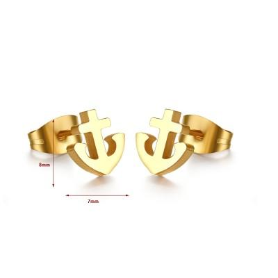 Anchor Diseño Oro Plata de Ley 925 Aretes