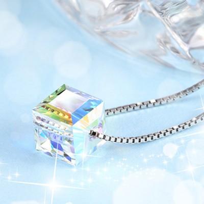 Swarovski Cubo Cristal Plata de Ley 925 Collares
